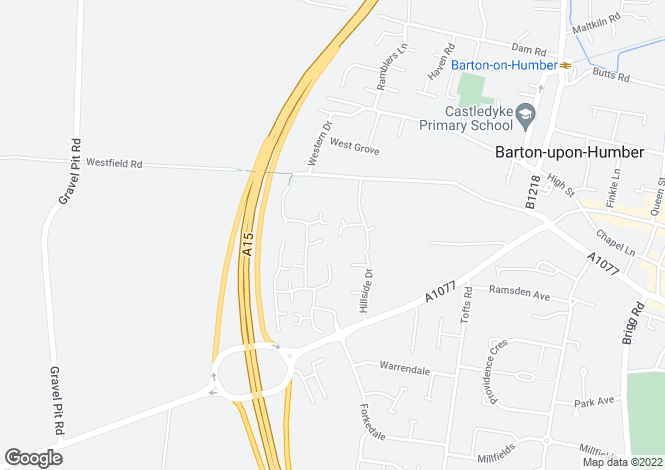 Map for Birchwood Close, Barton Upon Humber, North Lincolnshire, DN18