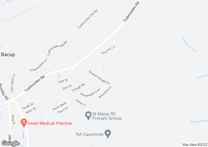 Map for Oaken Close, Bacup, OL13