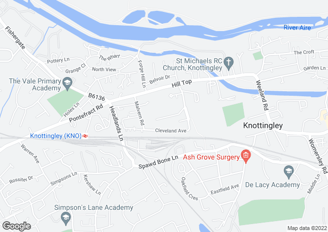 Map for Grove Lane, Knottingley