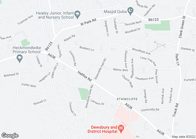 Map for The Old Vicarage, Staincliffe Hall Road, Batley