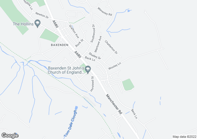 Map for Montgomery Close, Baxenden, Lancashire