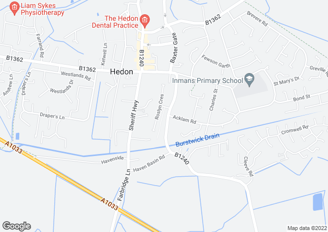 Map for Thorn Road, Hedon, East Yorkshire, HU12