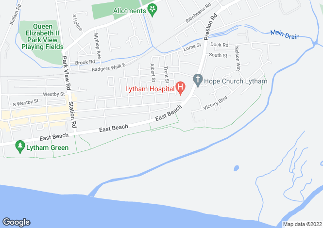 Map for East Beach, Lytham, FY8