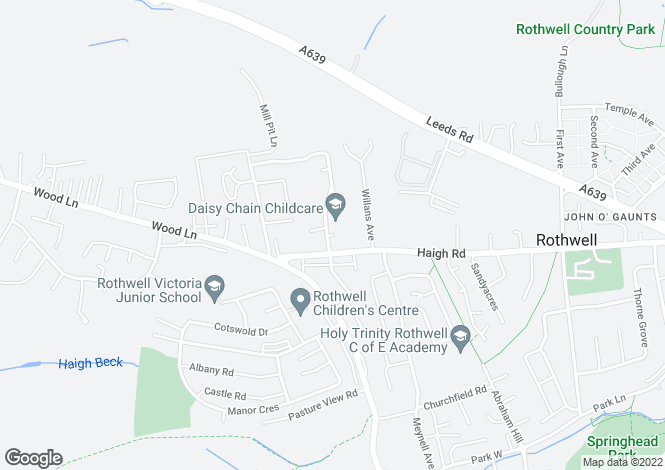 Map for Oakfield Avenue, Rothwell, Leeds LS26