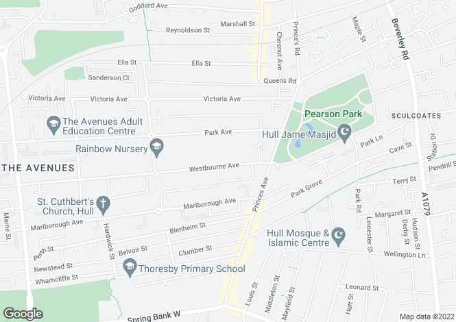 Map for Westbourne Avenue, Princes Avenue, Hull, East Yorkshire, HU5