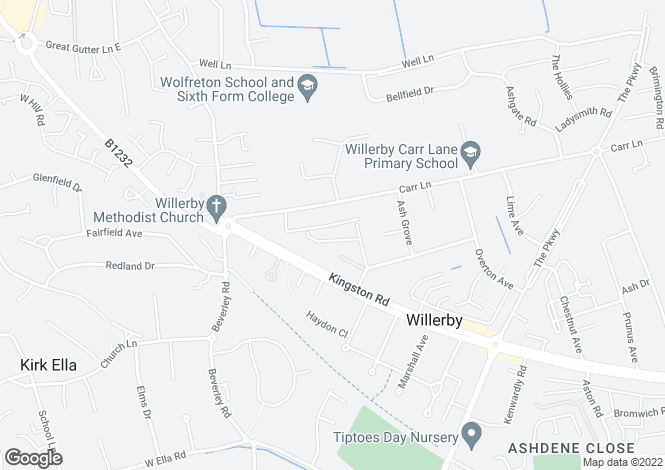 Map for Ferndale Avenue, Willerby, East Yorkshire, HU10