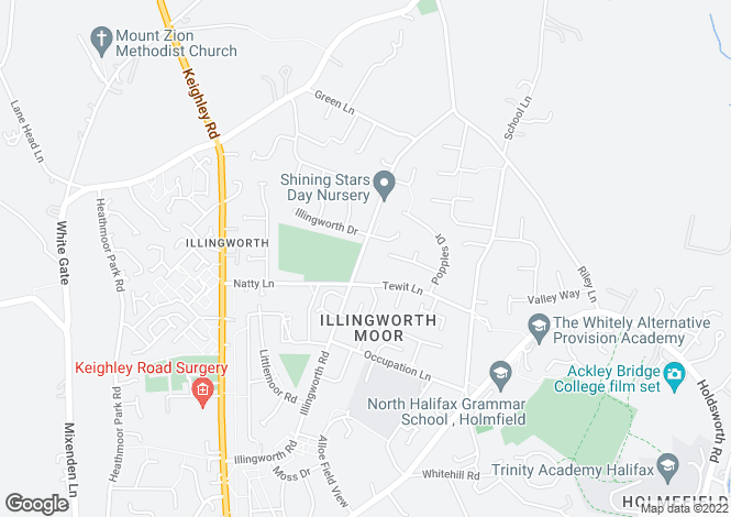 Map for Illingworth Road, Illingworth, Halifax