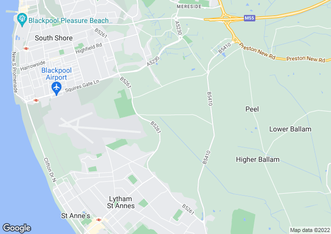 Map for Deeway, Division Lane, Blackpool, Lancashire