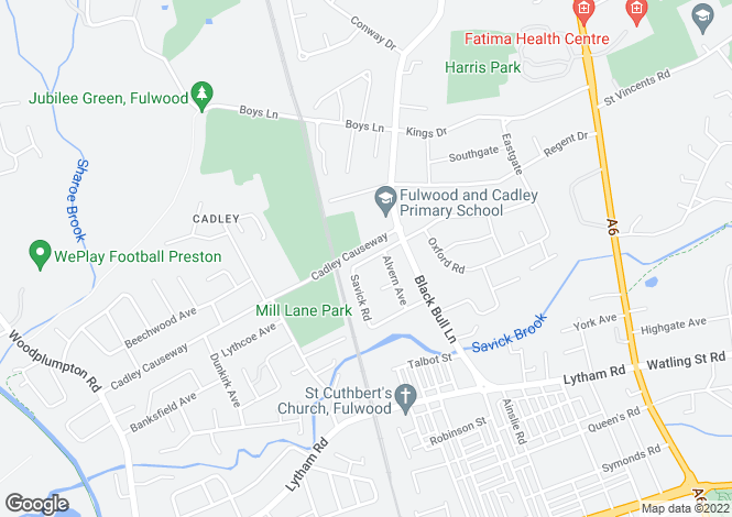 Map for Hillpark Avenue, Fulwood, Preston, Lancashire, PR2