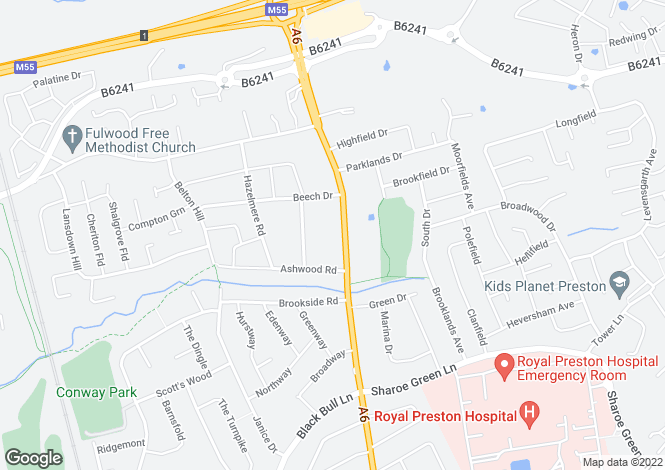 Map for Garstang Road, Fulwood, Preston, Lancashire, PR2