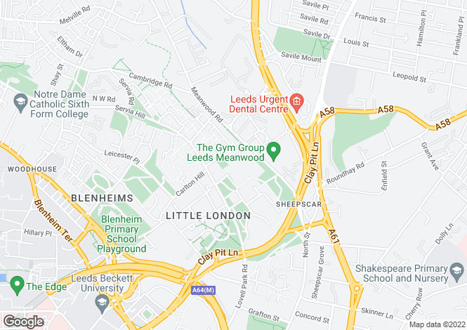 Map for Meanwood Road, Leeds, LS7