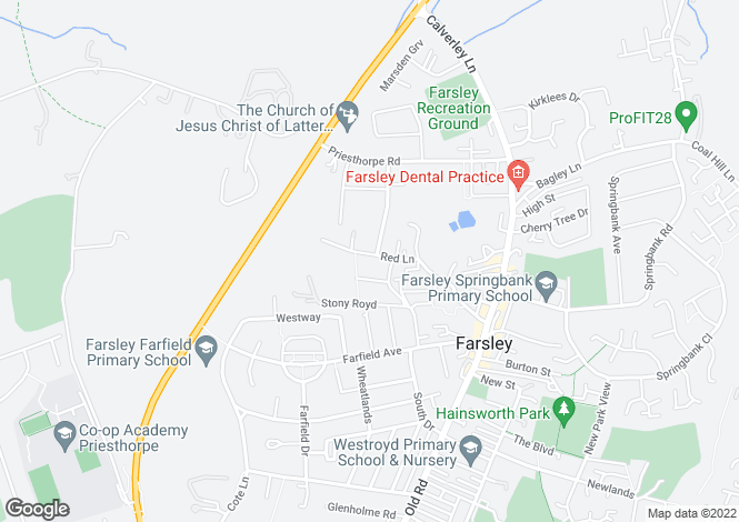 Map for Red Lane, Farsley, Pudsey, W Yorkshire, LS28