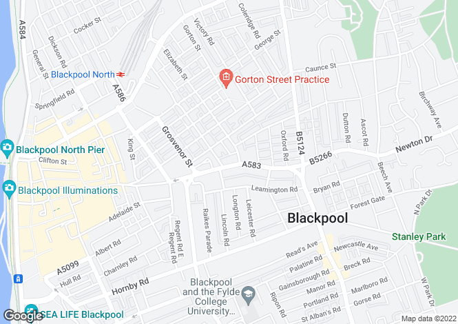 Map for Various Roads,Blackpool