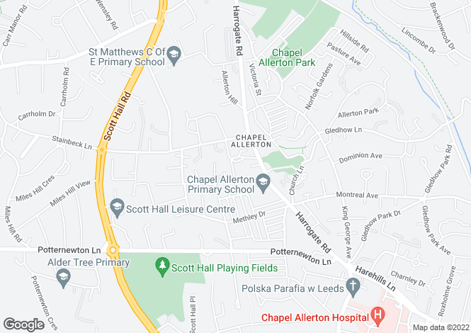Map for Newton Villas, School Lane, Chapel Allerton, Leeds