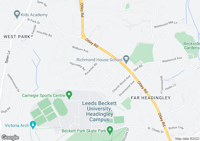 Map for HUNTINGTON CRESCENT, FAR HEADINGLEY, LEEDS, LS16 5RT