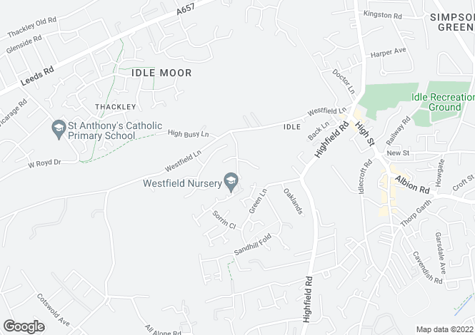 Map for COCKSHOTT LANE, IDLE. BD10 8UE.
