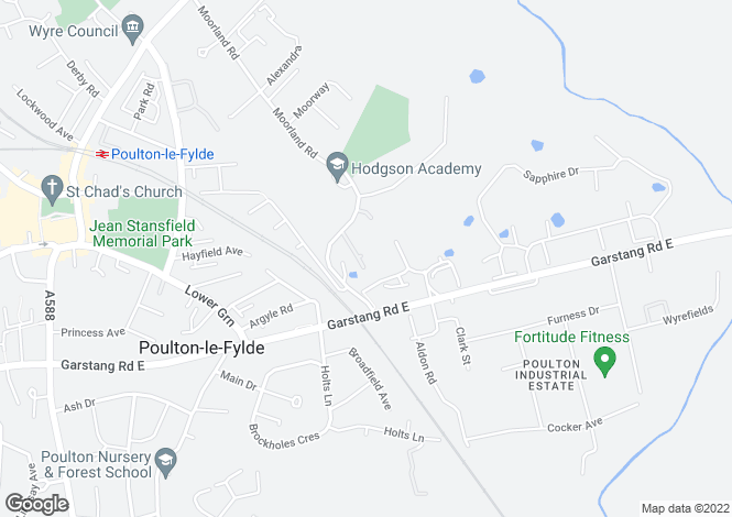 Map for Hurstdene Close, Poulton-Le-Fylde