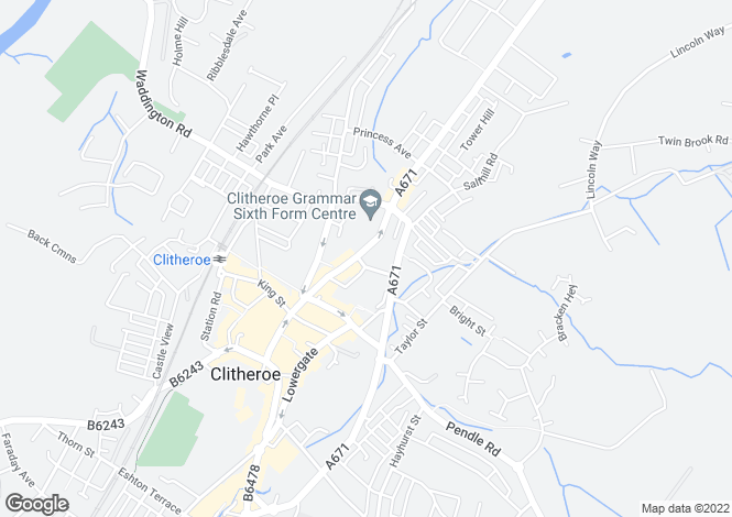 Map for York Street, Clitheroe