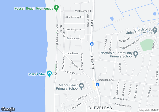 Map for Queens Walk, Thornton Cleveleys, Lancashire, FY5 1JU