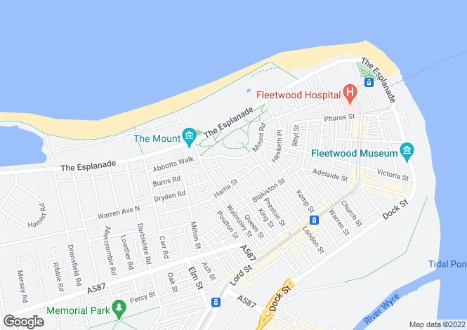 Map for Mount Road, Fleetwood, Lancashire