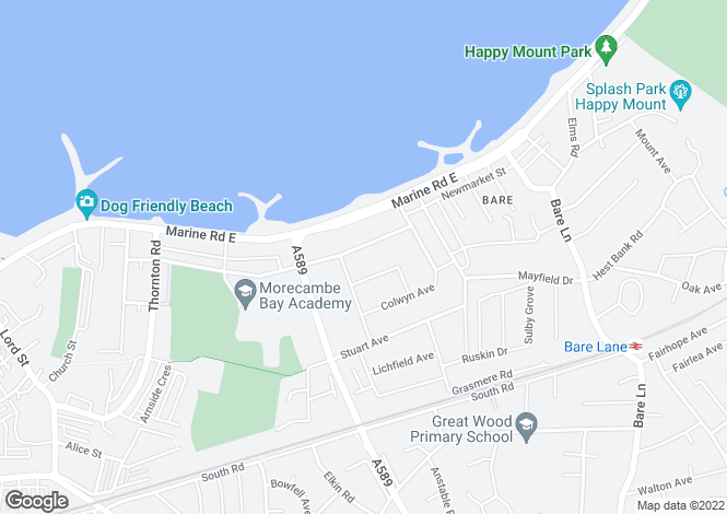 Map for St Christophers Way, Bare, Morecambe, LA4 6EE