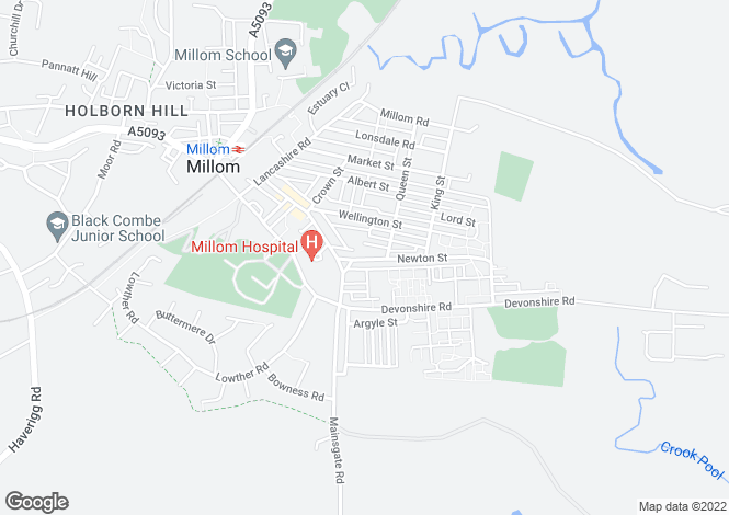 Map for Newton Street, Millom, LA18
