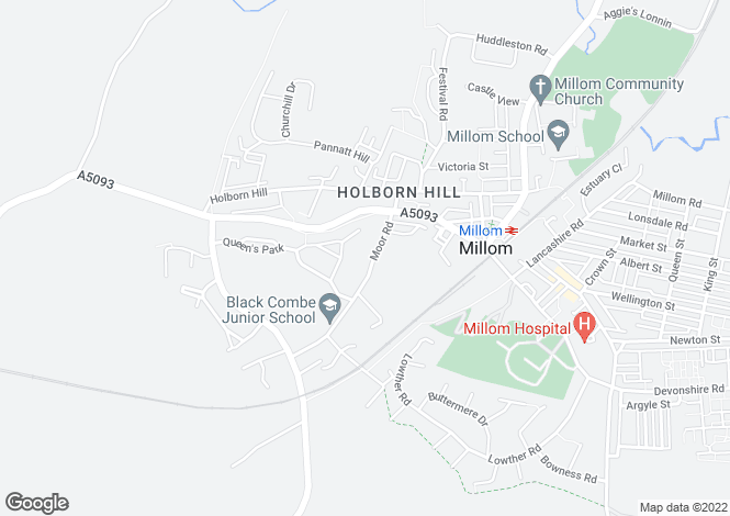 Map for Moor Road, Millom