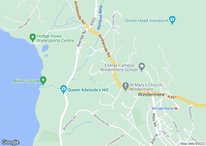 Map for Armathwaite, Spooner Vale, Windermere, Cumbria, LA23 1AU