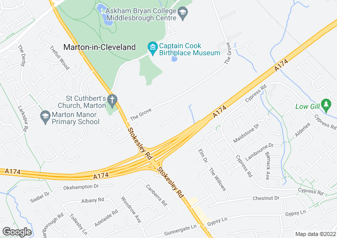 Map for Cleveland Drive, Marton-In-Cleveland, Middlesbrough