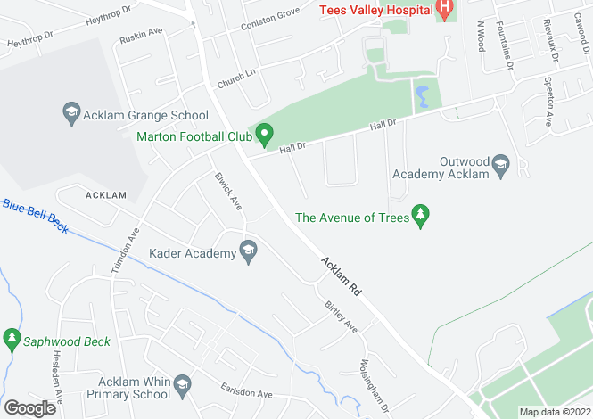 Map for Acklam Road, Middlesbrough