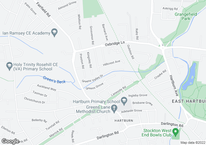 Map for Greens Valley Drive, Hartburn, Stockton On Tees