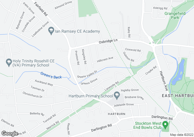Map for Greens Valley Drive, Hartburn, Stockton-On-Tees