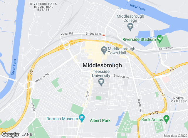 Map for Bridgfords, Middlesbrough