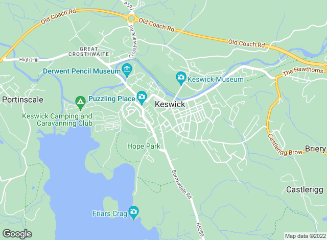Map for Edwin Thompson, Keswick
