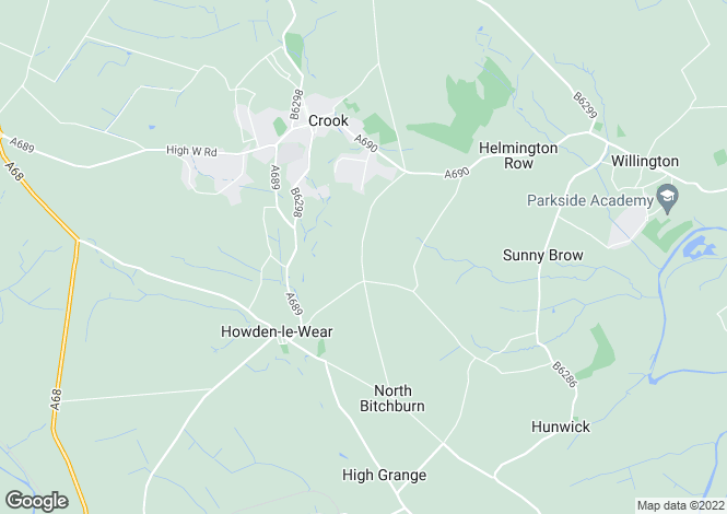 Map for 20 Rumby Hill, Crook, Bishop Auckland, County Durham