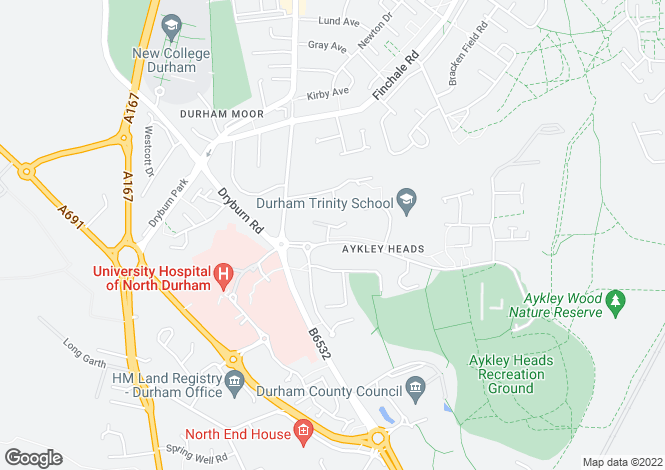 Map for Aykley Heads, Durham