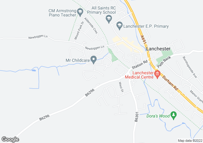 Map for Meadow Way, Lanchester, Durham, DH7