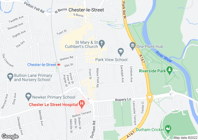 Map for Mains Park Road, Chester le Street, Co Durham, DH3