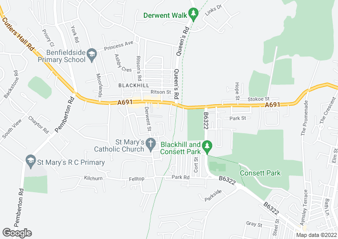 Map for Derwent Mews, Blackhill, Consett, DH8 8TU