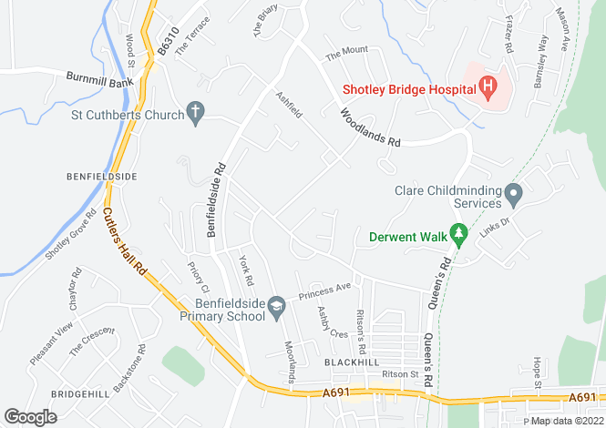 Map for Greenacres Road, Shotley Bridge, Consett, DH8