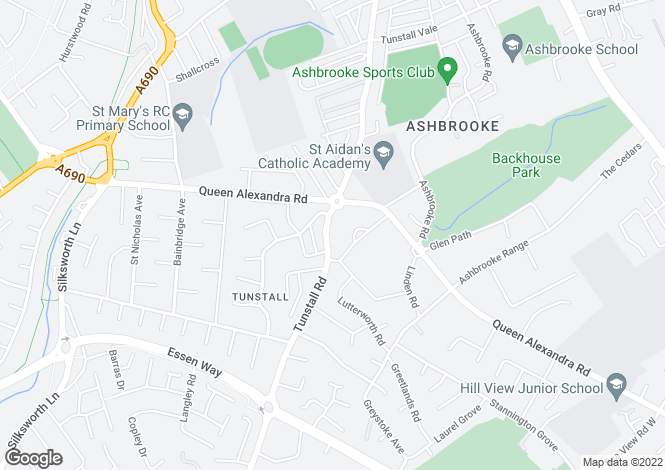 Map for Tunstall Road, Tunstall, Sunderland, SR2