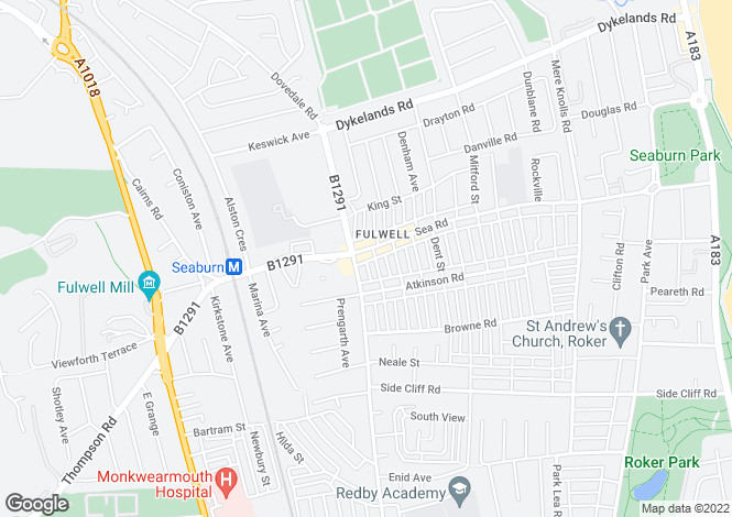 Map for Sea Road, Fulwell