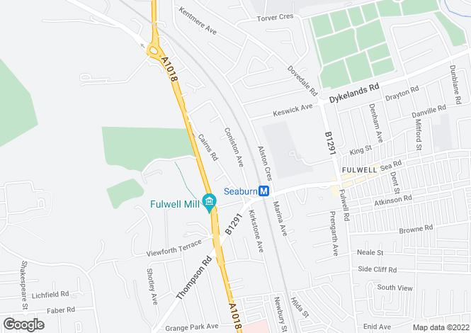 Map for Coniston Avenue, Fulwell