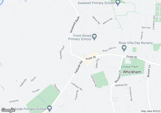 Map for Whickham Bank, Whickham, Newcastle Upon Tyne NE16