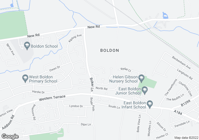 Map for Lilburn Close, East Boldon