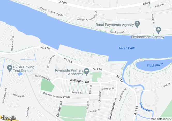 Map for Bittern Close, Dunston
