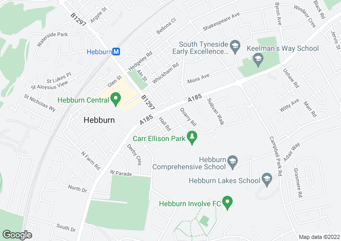 Map for Park Road, Hebburn, NE31