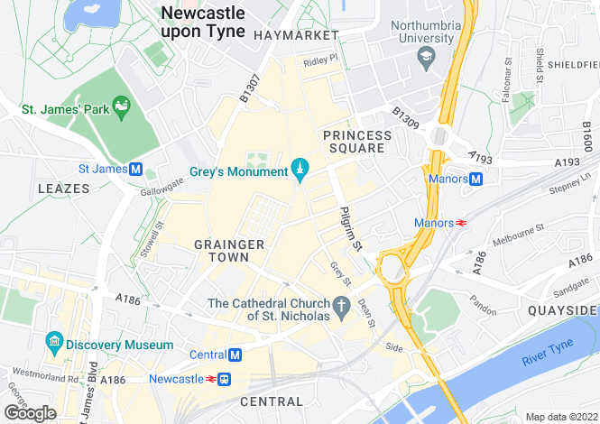 Map for Grey Street,