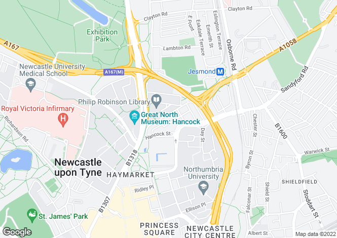Map for Carlton Terrace, Jesmond, Newcastle Upon Tyne, Tyne and Wear