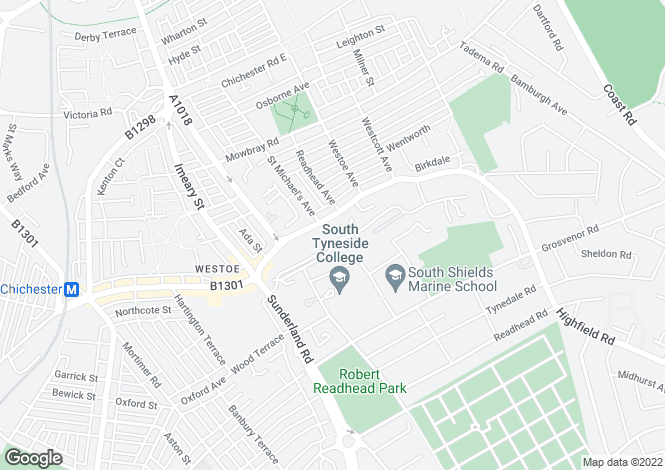 Map for Homeside, Westoe Village, South Shields